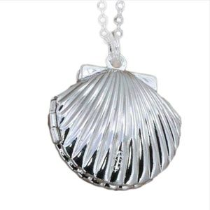 Boho Silver Seashell Photo Locket Pendant Necklace